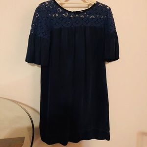 Navy Ella moss lace top suede bottom dress